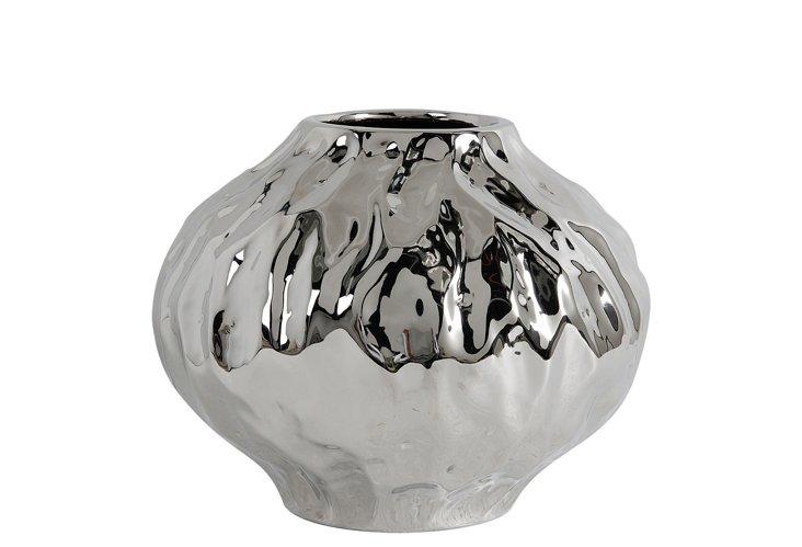 """10"""" Round Silver Wave Vase"""