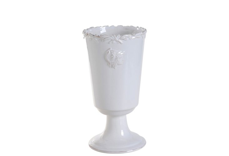 "10"" White Footed Vase"