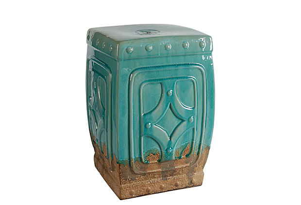 Diamond Garden Stool, Teal
