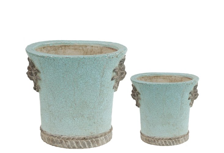 """S/2 8"""" Crackle Planters, Small"""