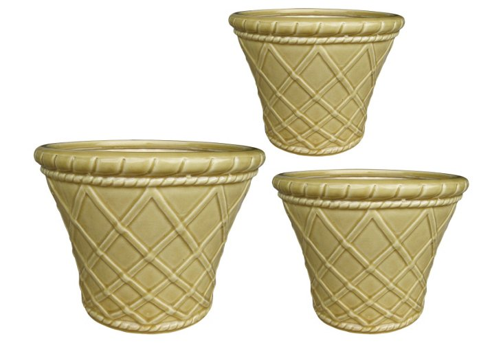 S/3 Trellis Pots, Cream