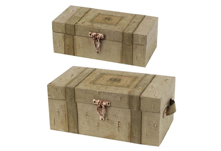 S/2 Wood & Fabric Trunks