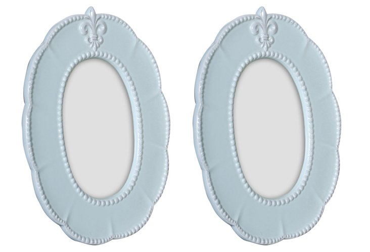 S/2 4x6 Oval Fleur-de-Lis Frames