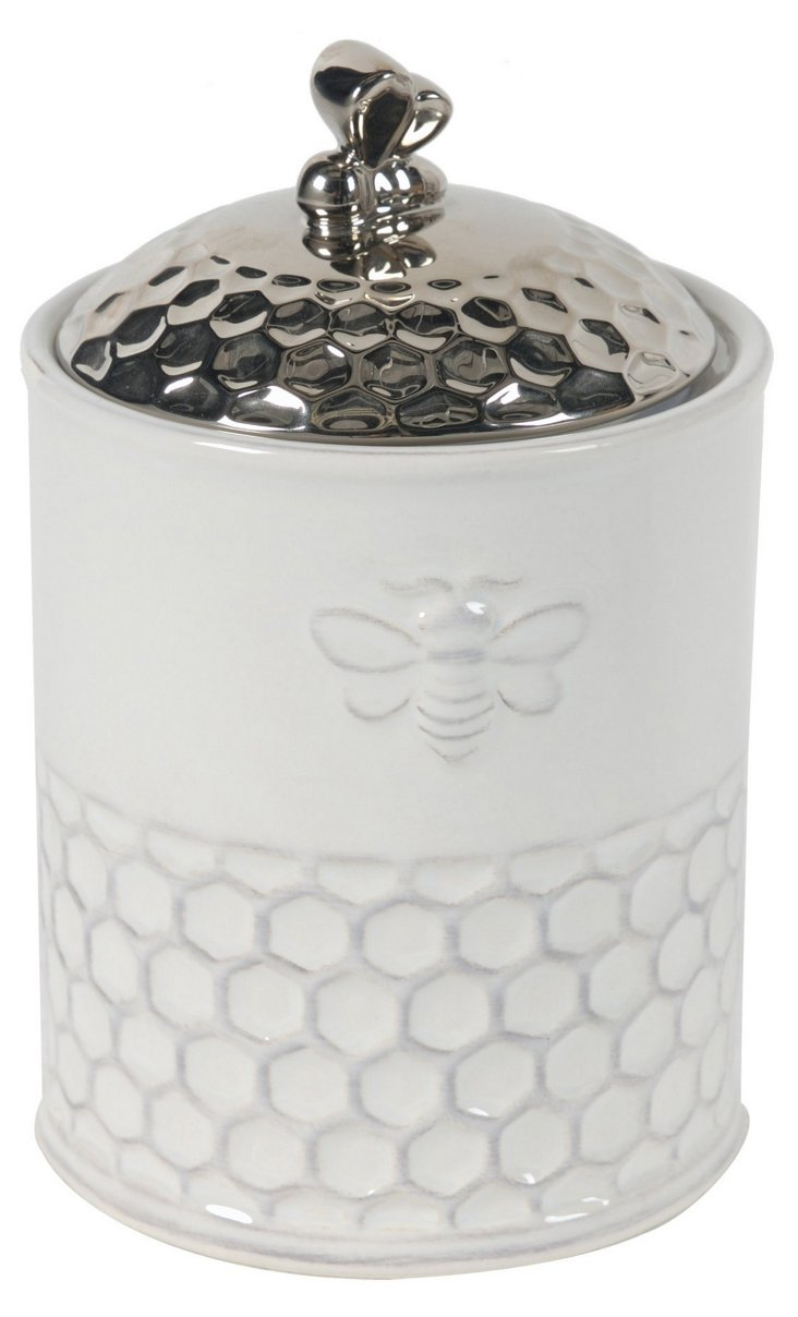 Medium Porcelain Bee Canister w/ Lid