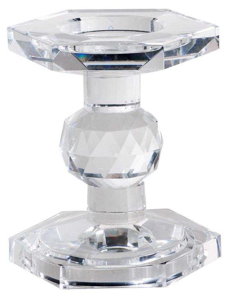 "5"" Hexagonal Crystal Candleholder, Clear"