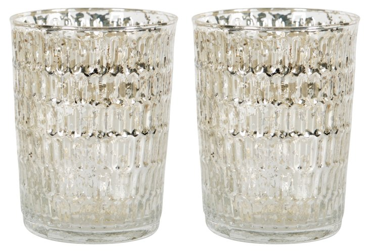 Pair of Silvered Votive Holders