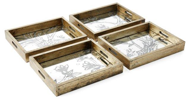 Asst. of 4 Mirrored Bird & Flower Trays