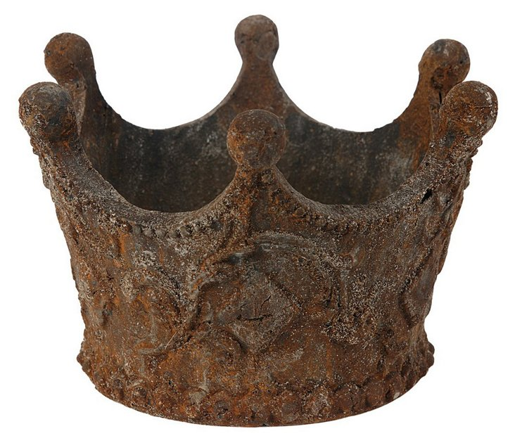"7"" King's Crown Candleholder, Rust"
