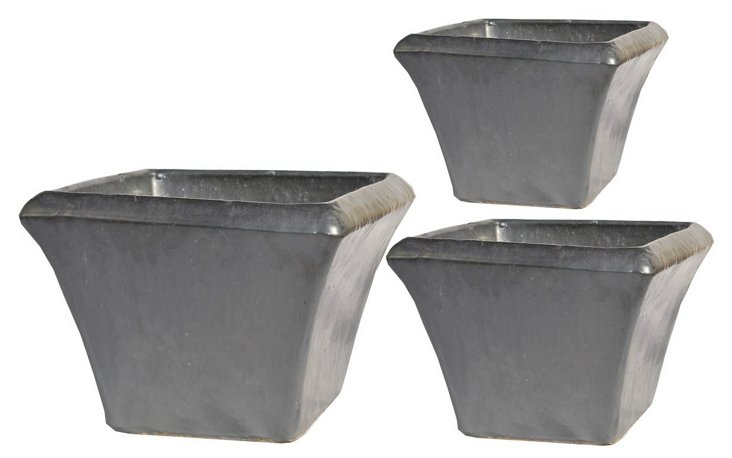 Square Planters, Asst. of 3