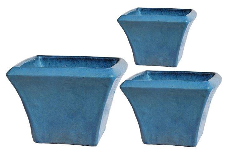 S/3 Square Planters, Blue