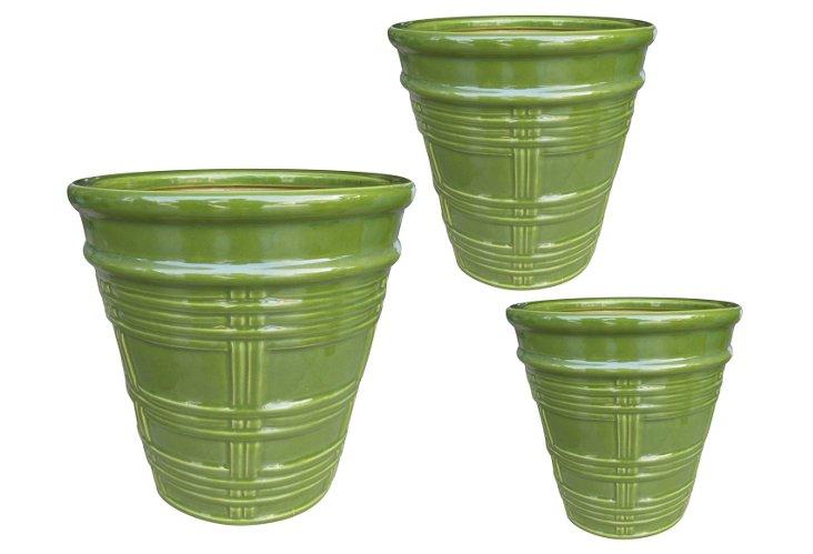 S/3 Terracotta Planters, Green