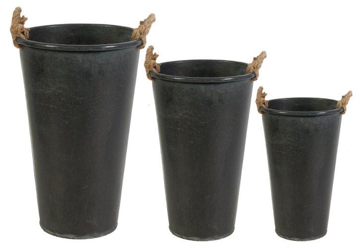 S/3 Planters w/ Hemp Handles, Black