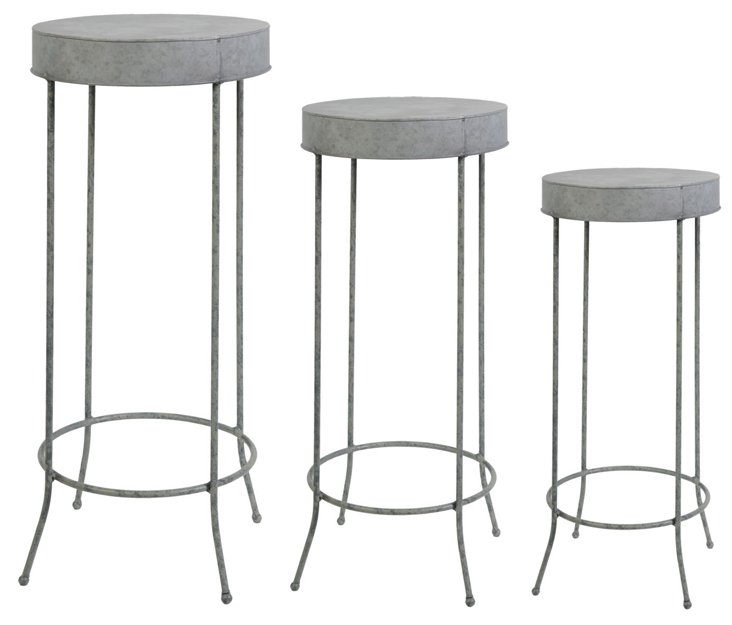 Round Metal Plant Stands, Asst. of 3