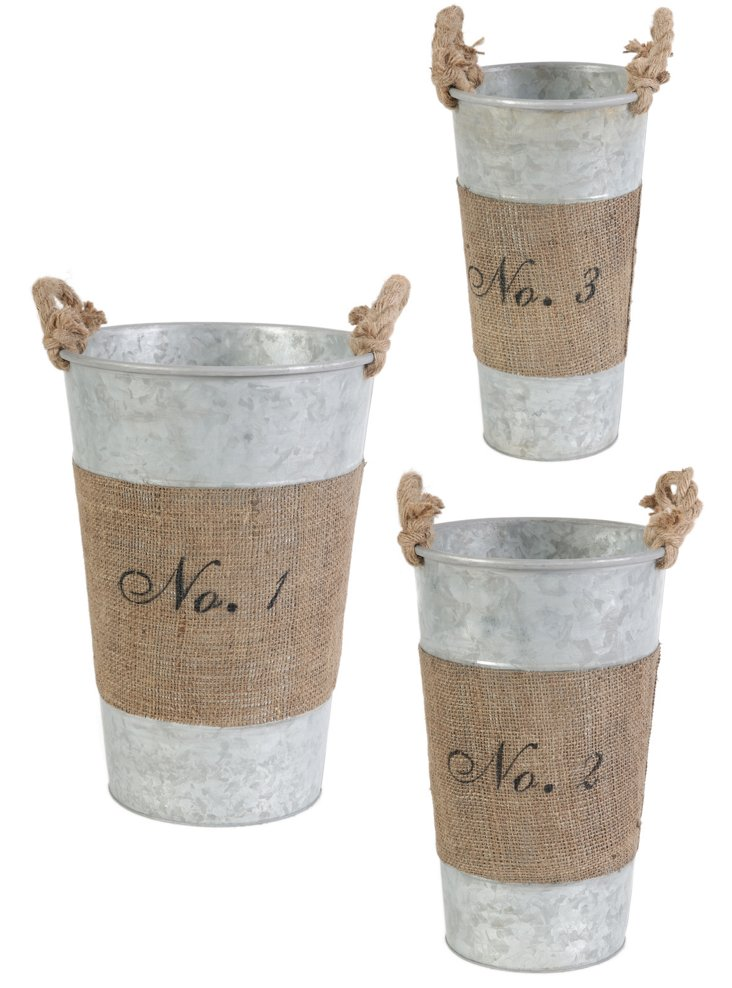 Round Hemp-Wrapped Planters, Asst. of 3