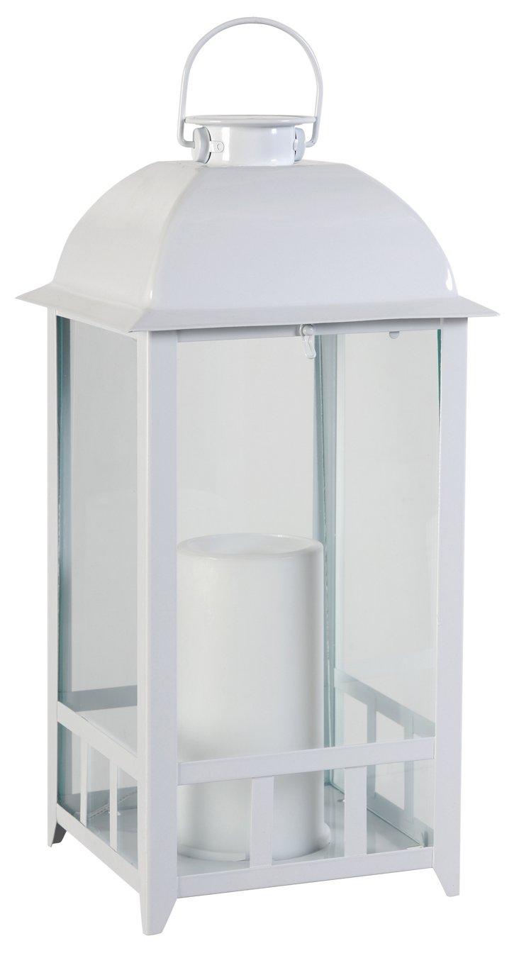 """15"""" Lantern w/ Solar-Power Candle, White"""