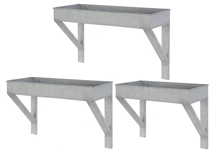 Asst. of 3 Wall Planters, Silver