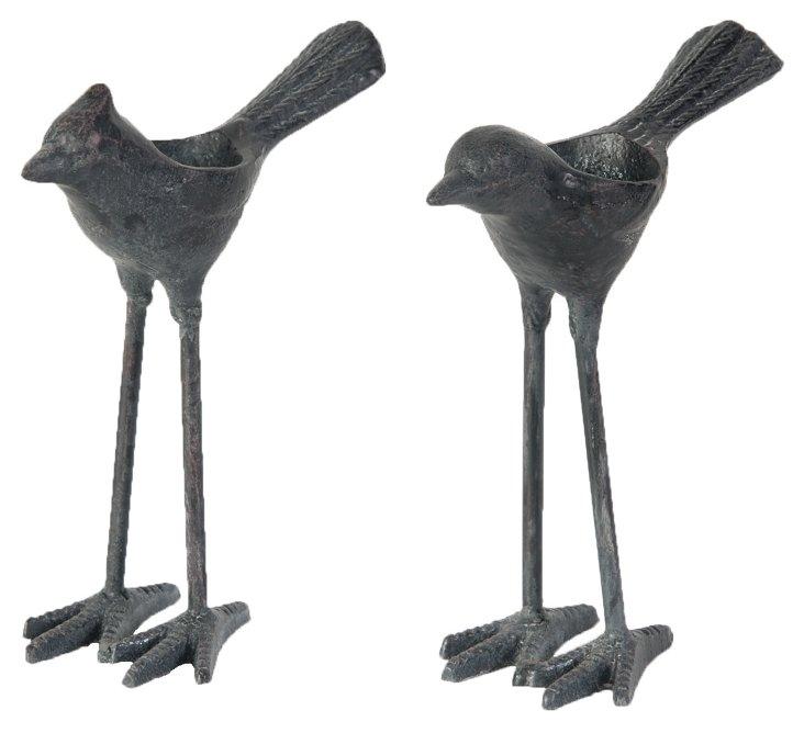 Asst. of 2 Bird Candleholders, Gray