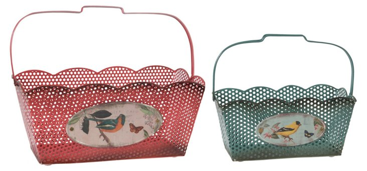 Scalloped-Top Bird Baskets, Asst. of 2
