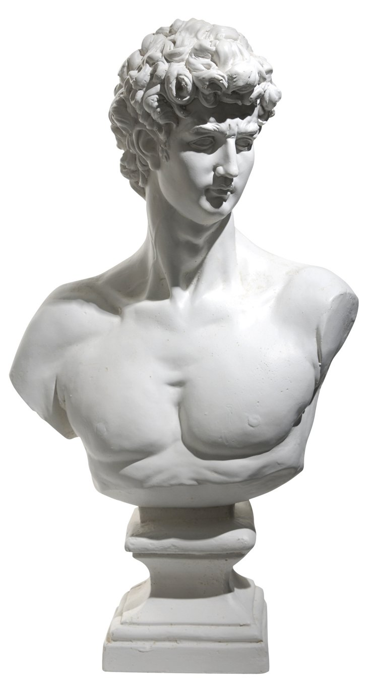 """23"""" Male Bust, White"""