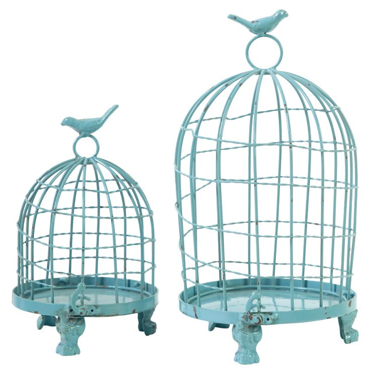 Asst. of 2 Iron Birdcages, Turquoise