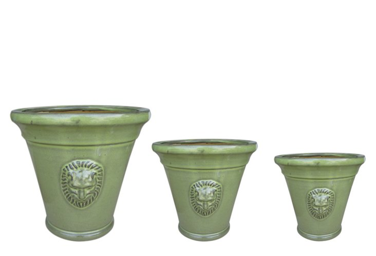 S/3 Lion-Head Pots, Green