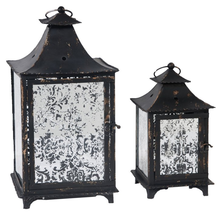 Asst. of 2 Pagoda Mirror Lanterns, Black