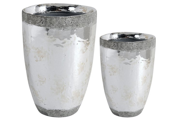 Asst. of 2 Ceramic Vases, Silver