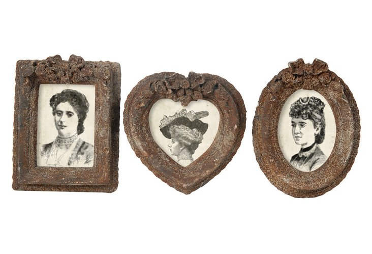 S/3 Picture Frames, Rust