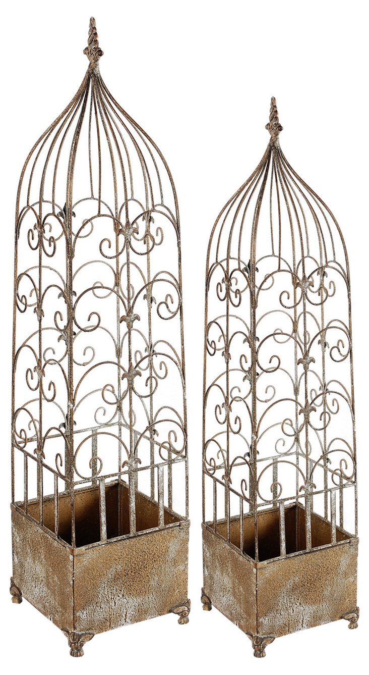 Ornate Plant Cages, Asst. of 2