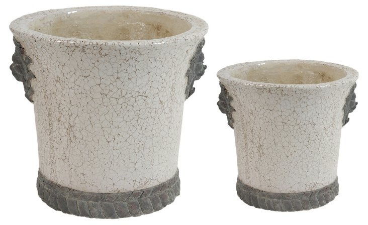 """11"""" Crackle Planters, Asst. of 2, Gray"""