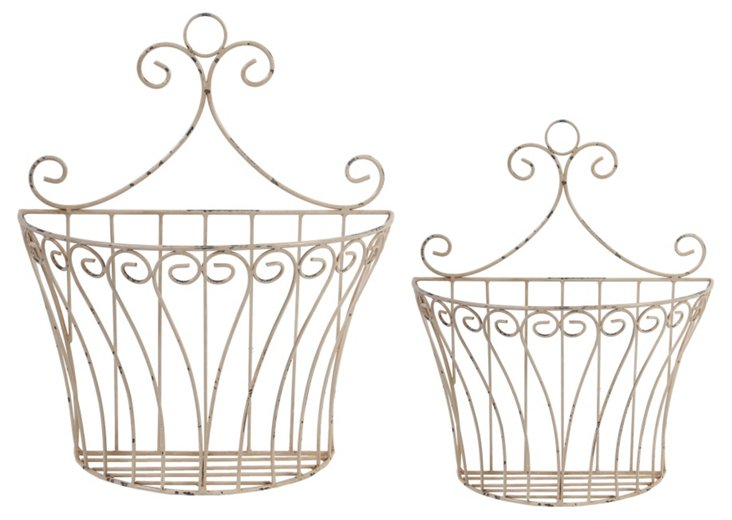 Asst of 2 Fluted Wall Wire Baskets