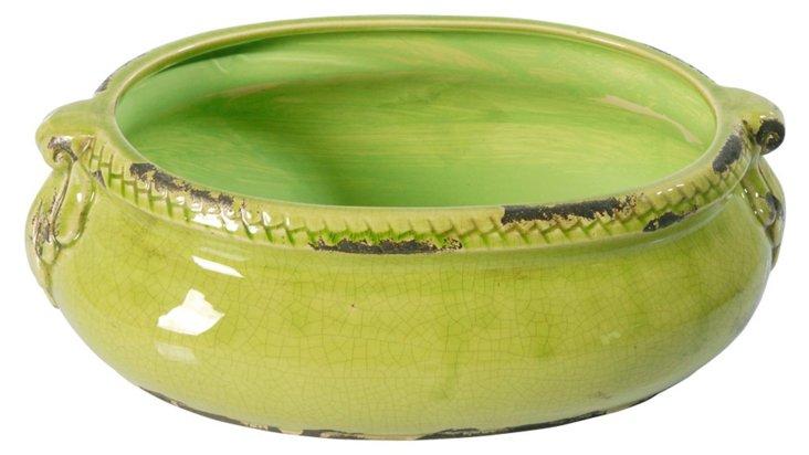 "16"" Ceramic Planter, Green"