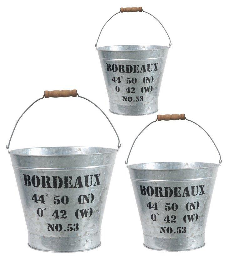 Bordeaux Pails, Asst. of 3