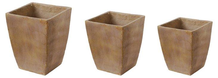 Asst. of 3 Ceramic Planters, Tan