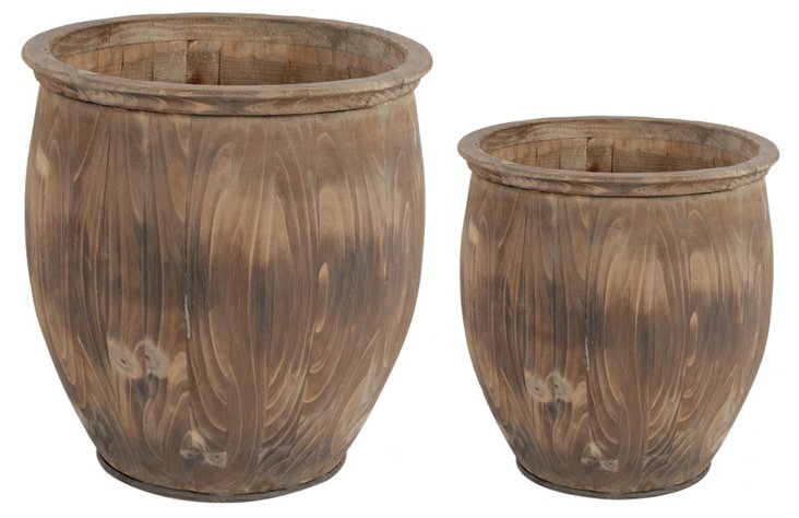 Asst. of 2 Wood Barrel Planters, Brown