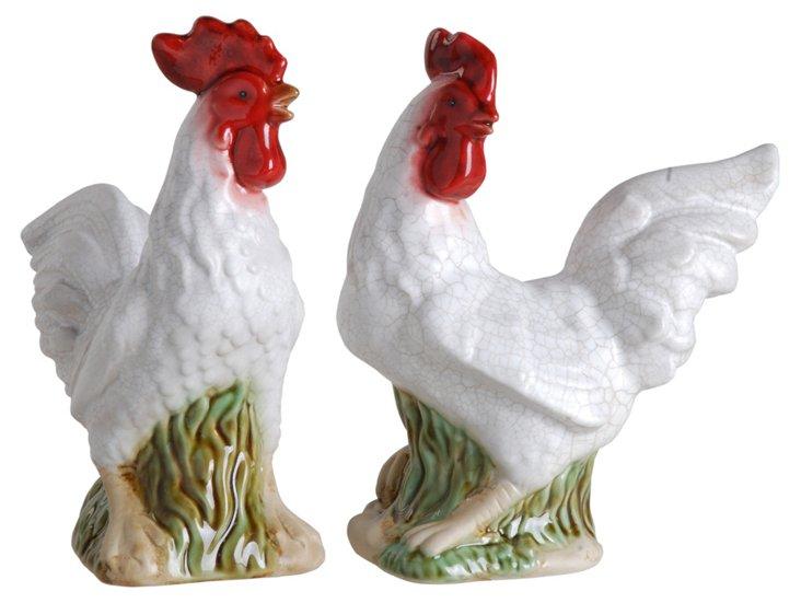 Asst. of 2 Ceramic Rooster Objets