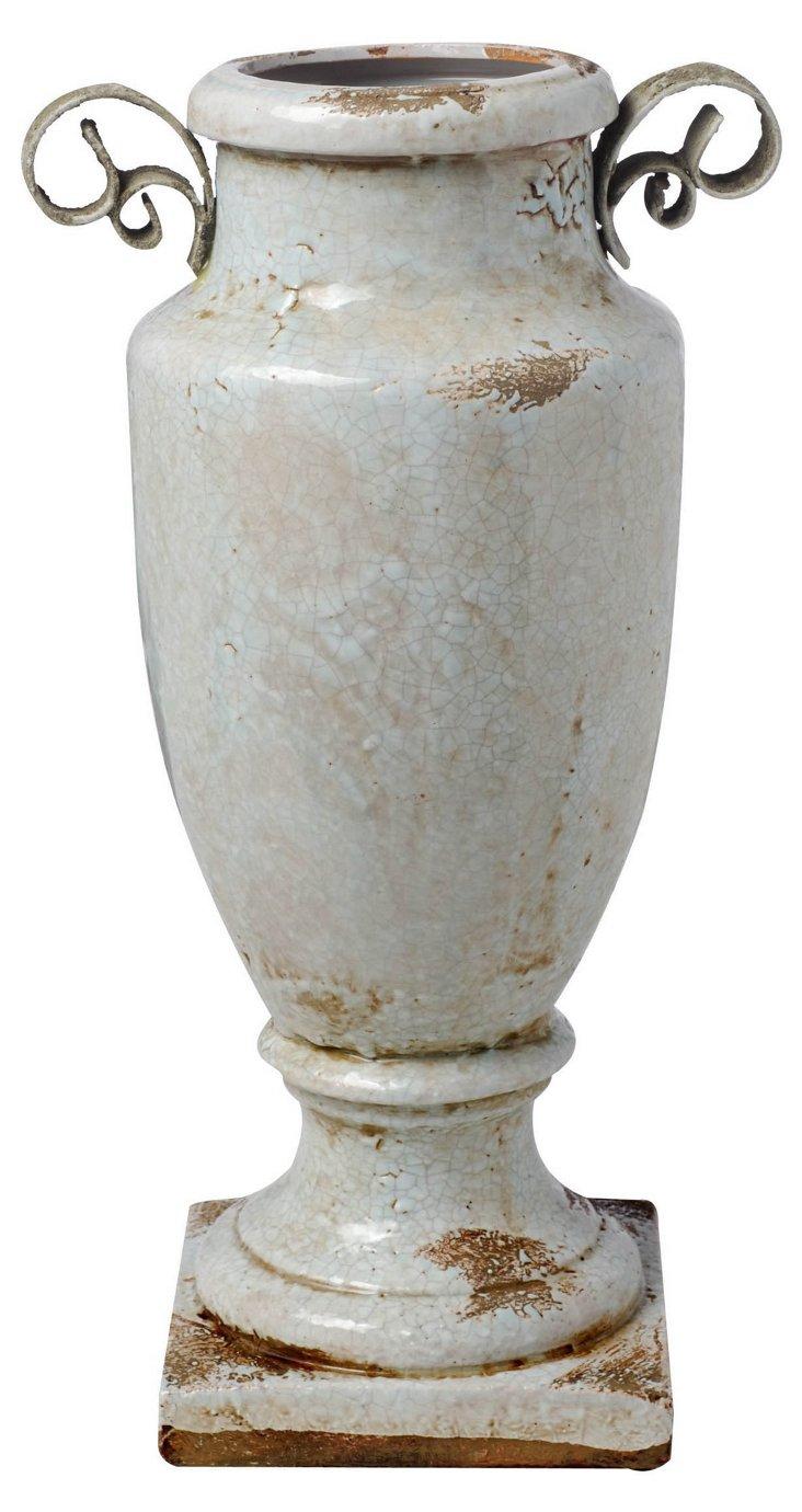 "12"" Etruscan Vase w/ Handles, Cream"