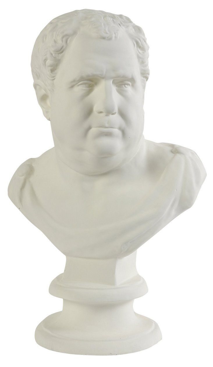 "25"" Court Bust Statue, White"