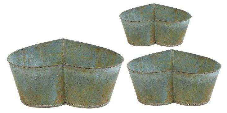 Asst. of 3 Heart Planters, Gray