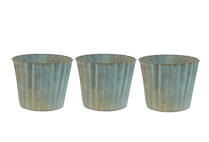 "S/3 5"" Scalloped Planters, Blue"