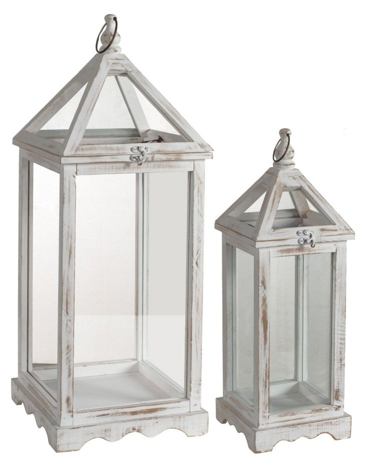 Asst. of 2 Rustic Lanterns, White