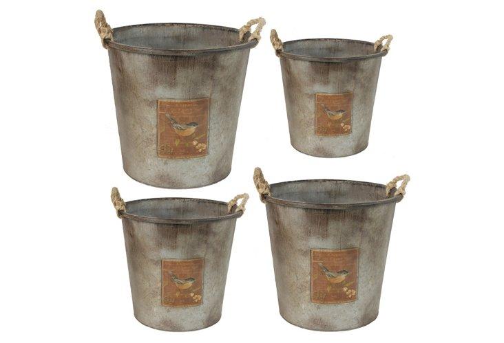 Asst. of 4 Bird Tin Buckets, Gray