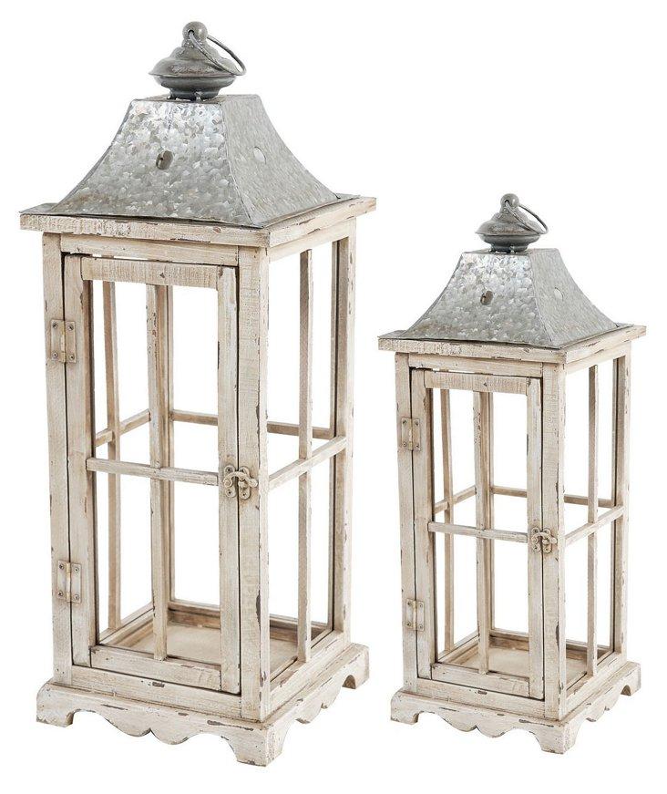 Asst. of 2 Cottage Lanterns, Cream