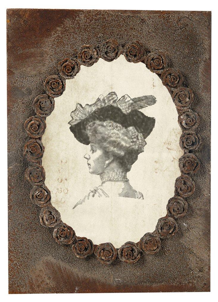 Oval Rosette Frame, 7x5, Rust
