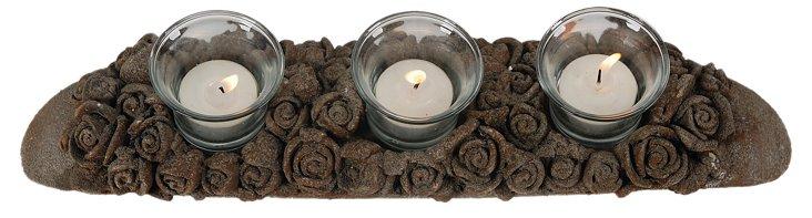 """16"""" Carved Floral Tea-Light Holder"""