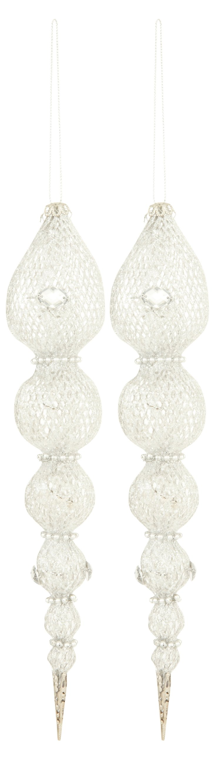 S/2 Long Mesh Ornaments, Silver