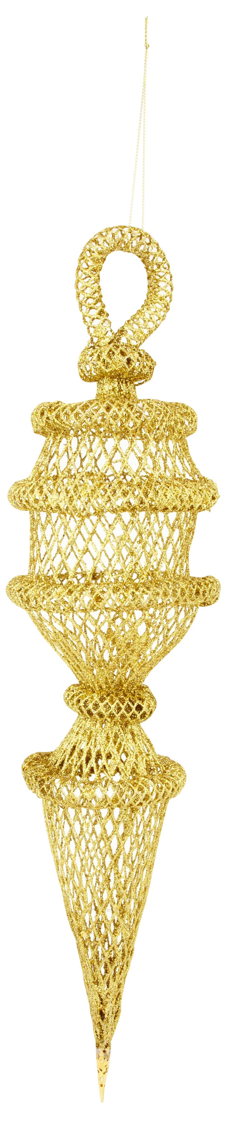 Long Mesh Ornament, Gold