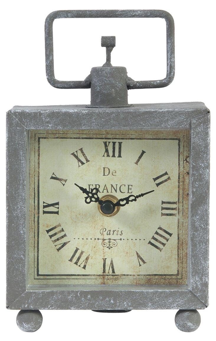 """7"""" Galvanized Square Clock"""