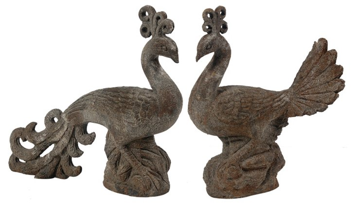Asst. of 2 Ceramic Peacock Figurines