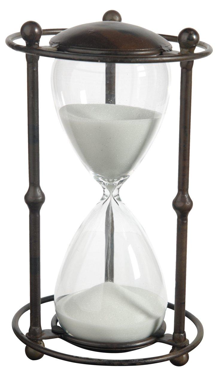 Hourglass w/ Stand, White